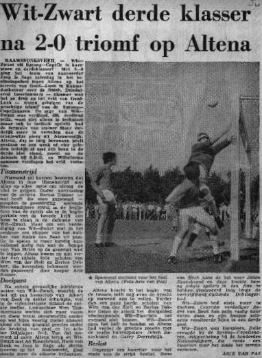 krantenartikel kampioenschap Wit-Zwart
