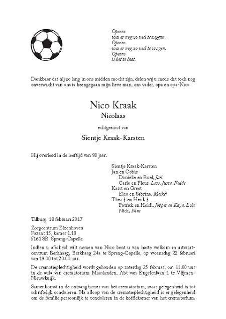 overlijdensbericht Nico Kraak